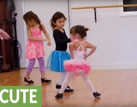Adorable ballerina is determined to get this right