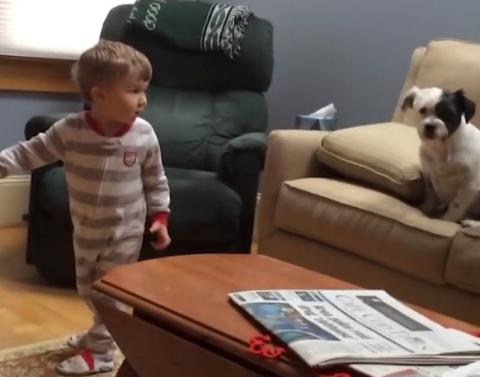 Little boy makes us cry when he does this to dog