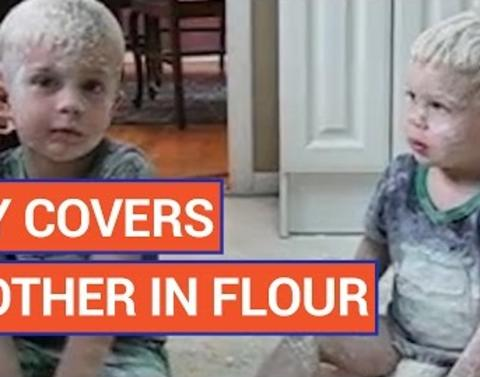 This is what happens when little boys get into the flour