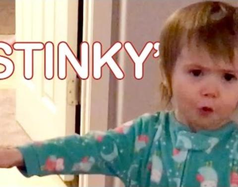 Stinky little girl takes great pride in huge fart