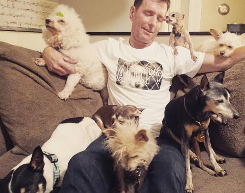 At home with his furry friends