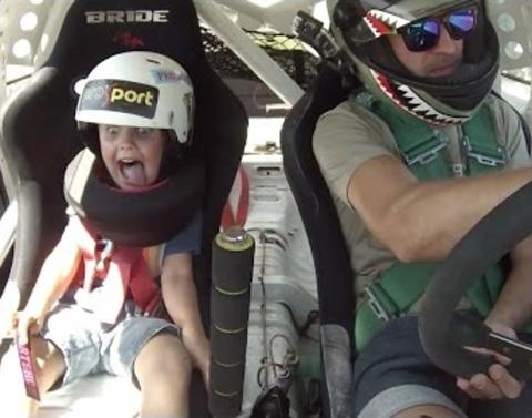 5 year old has pricless reaction to fathers stunt driving