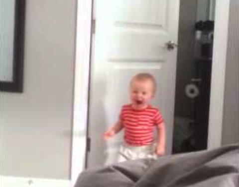 Cat tackles adorable toddler deserves unsportsmanlike conduct pe