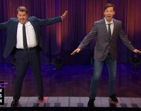 James corden and sean hayes make like big to justin bieber