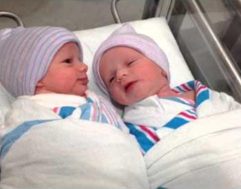 Newborn twins have first conversation outside womb
