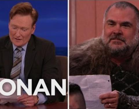 Conan obrien recreates a scene from the best show on tv