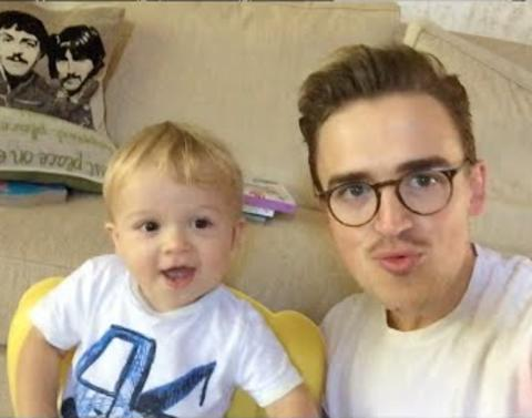 Cute father and adorable son cover justin bieber britney