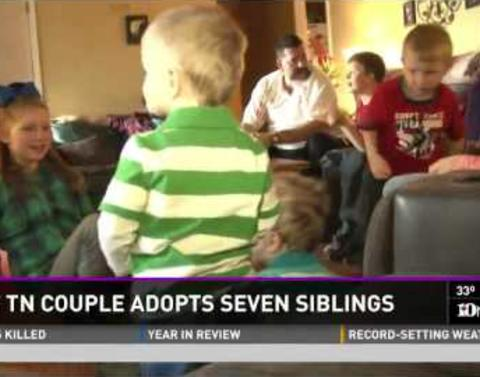 Couple adopts in seven siblings keeps everyone all in the family