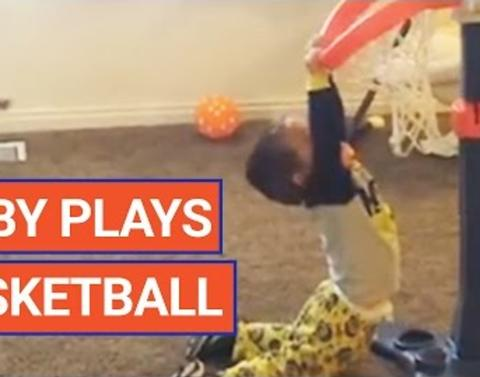 Toddler already slam dunks like a pro