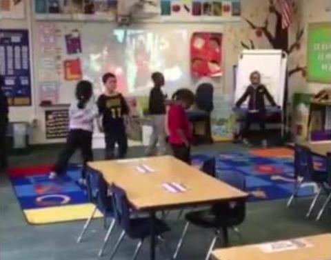 Returning soldier shocks son by arriving a school