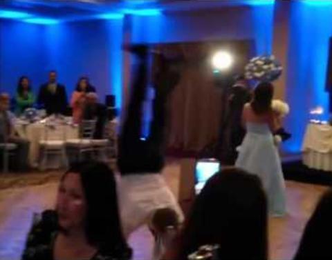 Groomsman backflips into bridesmaid causes literally wedding cra