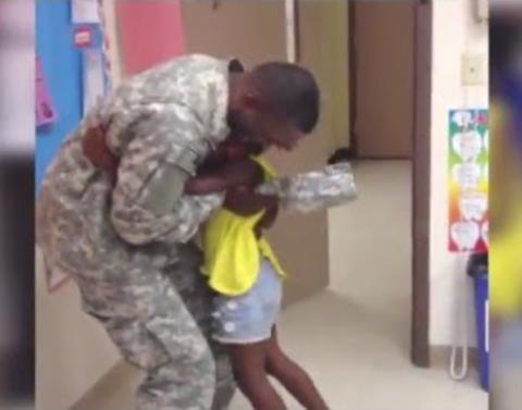 Girl gets big surprise when dad returns home early