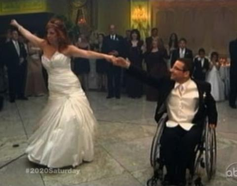 Wheelchair bound groom shares amazing first wedding dance