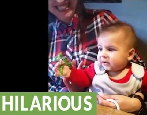 Baby makes epic face over broccoli