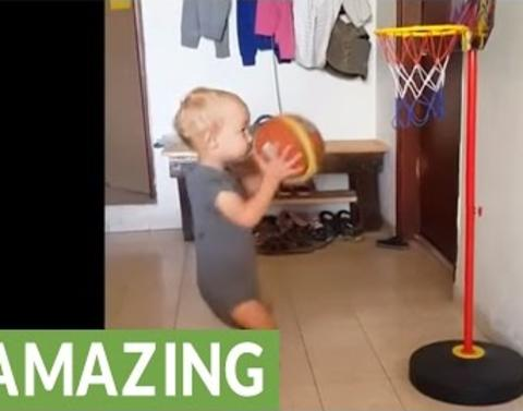Two year old basketball prodigy shows off his dribbling skills